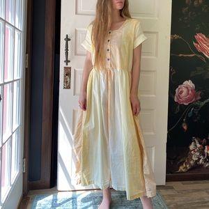 Vintage Cotton Pleated T Shirt Maxi Dress